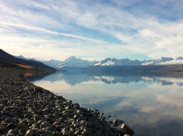 Lake Pukaki shore and snow-capped mountains