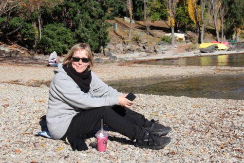 Lake Wakatipu autumn beach