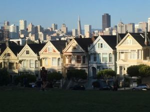 Dreaming about travel: Alamo Square and San Francisco downtown