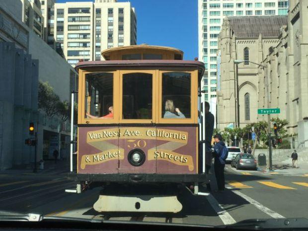 A San Francisco cable car stop