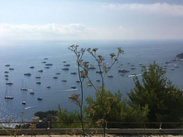One day in Monaco, yacht show on the sea
