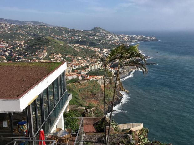 Driving in Madeira, view from Cabo Girao teleferico restaurant