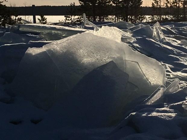 Ice sculptures in winter Finland