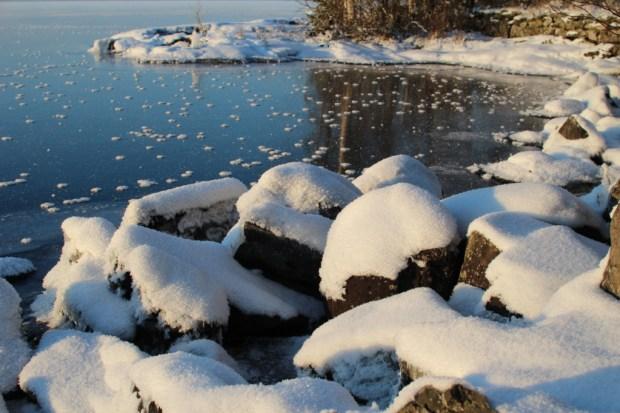 Winter in Finland, a frozen lake