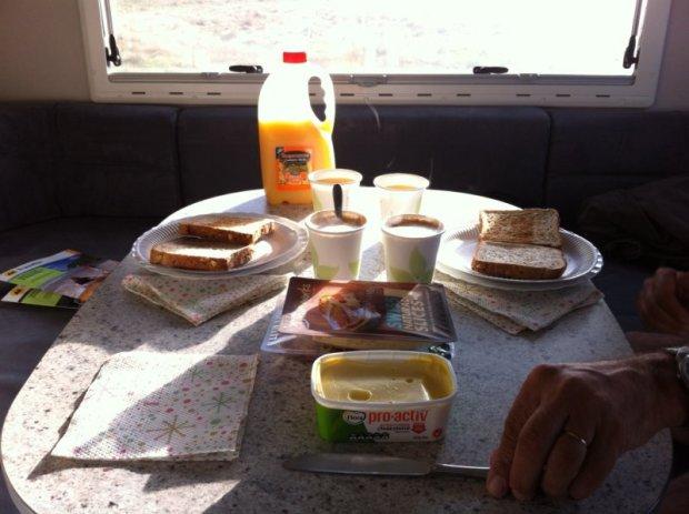 Breakfast in a campervan