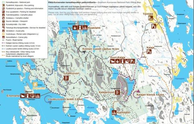 Southern Konnevesi National Park Hiking Map