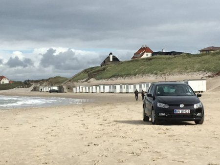 Driving on Lokken beach
