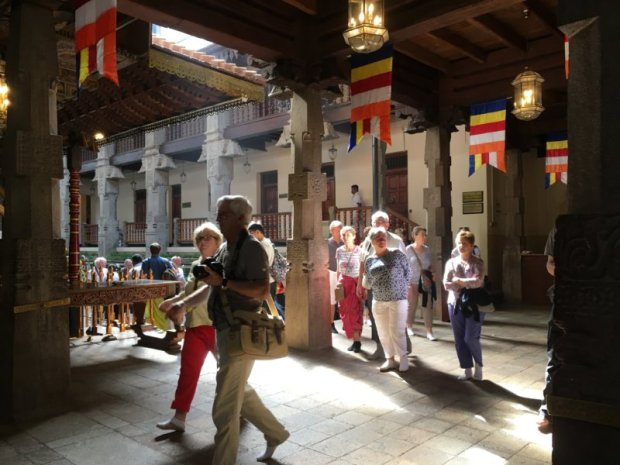 Tourists visiting the Temple of the Tooth