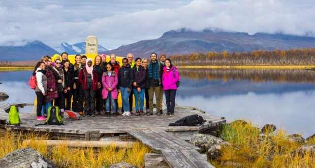 Visiting the three nations border point, Lapland