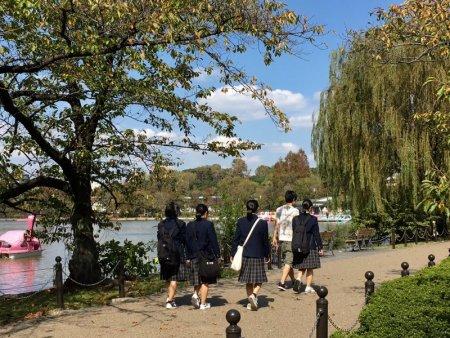 School children in Ueno Park, Tokyo