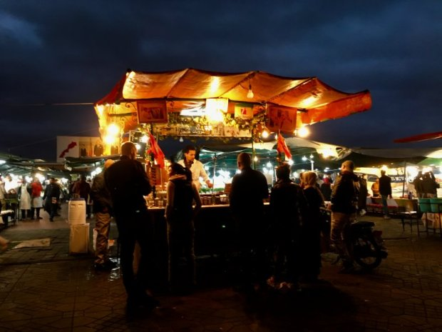 Evening food stall on UNESCO listed Jemaa el-Fna