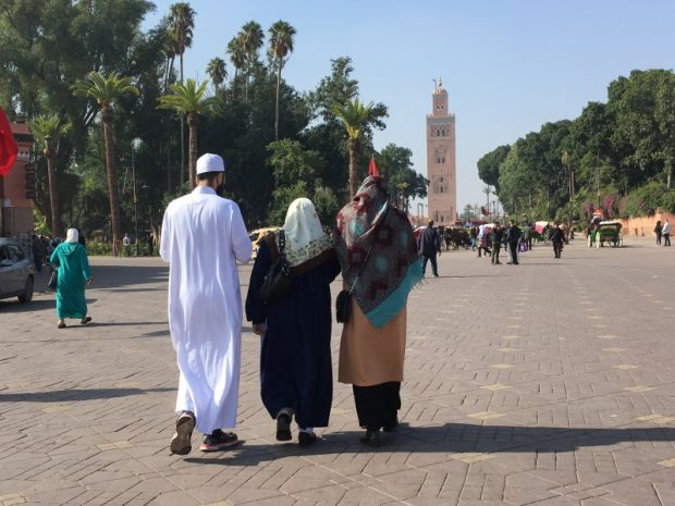 Locals walking on Jemaa el-Fna, Marrakech