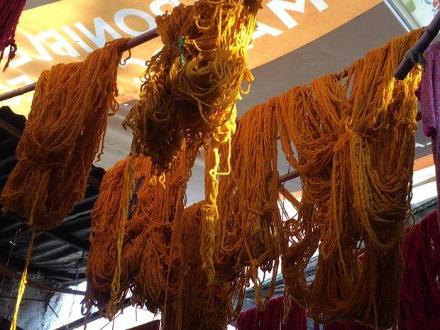 Yarn hanging in the sun, Marrakech souks