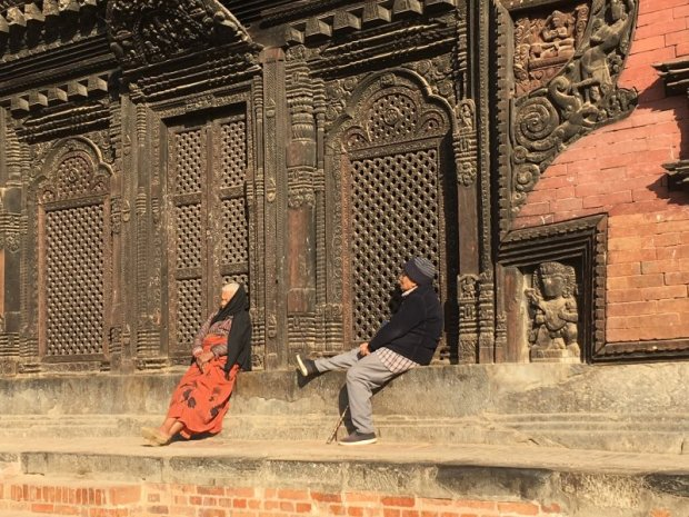 Nepal people: an old Bhaktapur couple