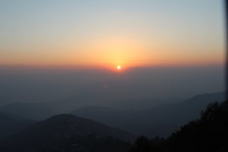 Dreaming about travel: sunrise from Hotel Country Villa, Nepal