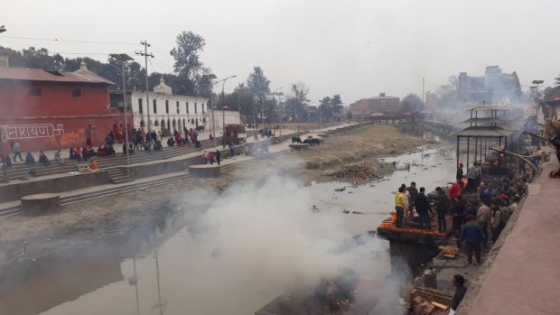 Cremation by the holy Bagmati River, Kathmandu