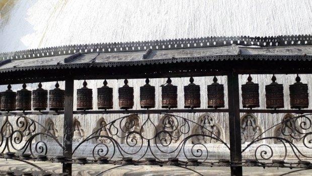 Kathmandu Monkey Temple prayer wheels