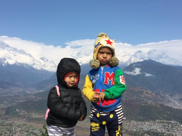 Nepal children in Sarangkot, Annapurnas