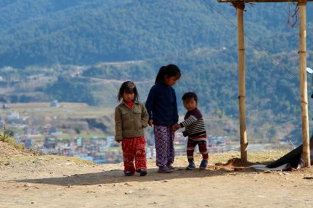 Pokhara children on the hill
