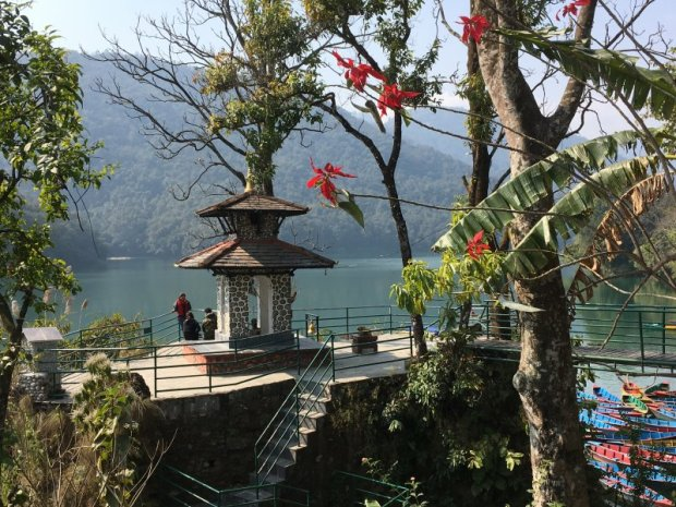 Travel in Nepal: one of the many Pokhara lakeside pagodas