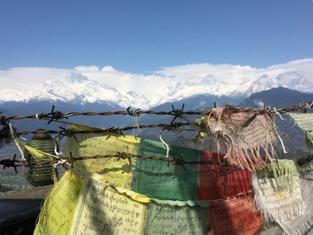 Prayer flags and Himalayas from Sarangkot