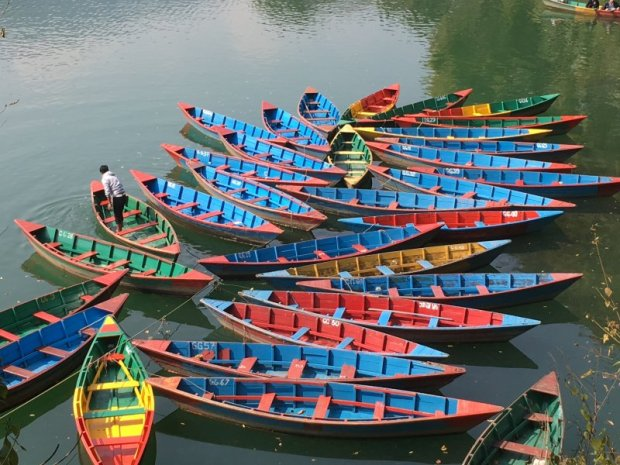 Rowing boats on the lakeside, Pokhara