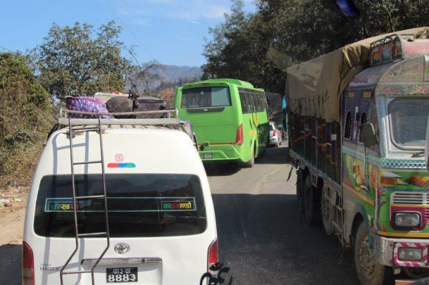 Driving in Nepal: traffic jam on the Kathmandu to Pokhara road
