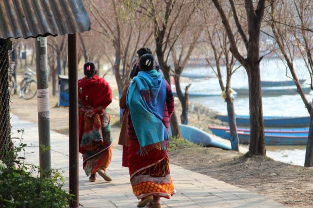 Women on Pokhara lakeside promenade