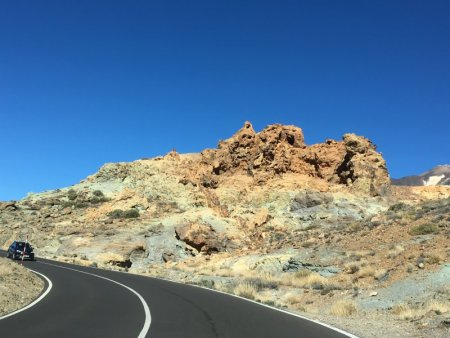 Colored rocks along the road, Mount Teide National Park