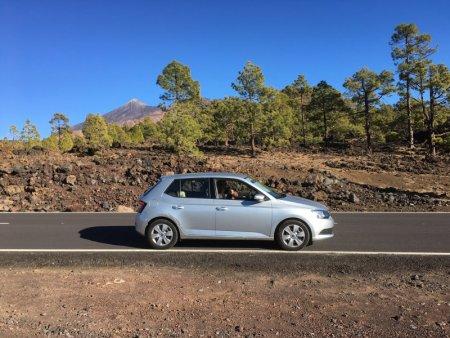 Driving in Parque Nacional del Teide landscape
