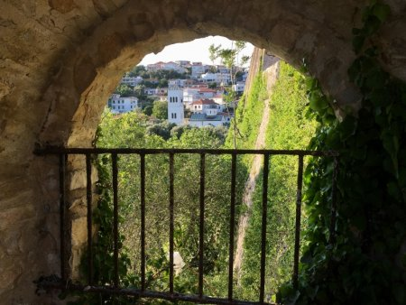 Ulcinj old town wall and city view