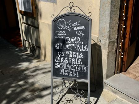 Italy by train and car, bar gelateria osteria