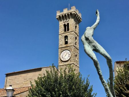 Italy by train and car, Fiesole church tower and statue
