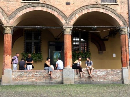 Piazza Santo Stefano street life, Bologna