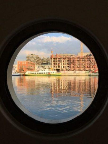 River cruising in Europe: Antwerp from barge window