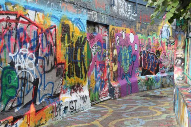 Graffiti street Werregarenstraat, Ghent, Belgium