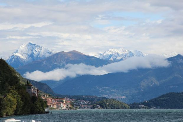 Lake Como and snow-capped mountains
