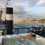 River cruising through Belgium and Netherlands: hot tub on boat deck