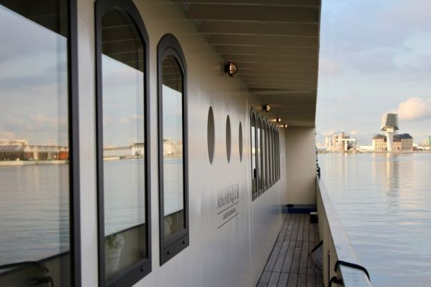 River cruising through the Low Countries: our barge in Antwerp