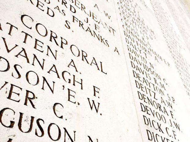 Soldier names, Yper, Belgium