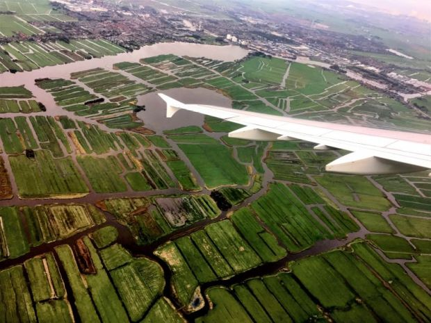 Dutch scenery when landing in Schiphol, Amsterdam