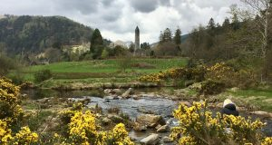 Glendalough St. Kevin's Church and round stone tower