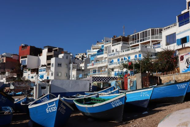 Blue fishing boats of Morocco