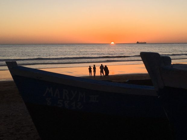 Taghazout sunset and fishing boats