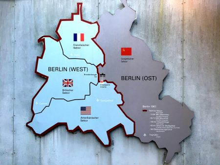Checkpoint Charlie location and Berlin sectors