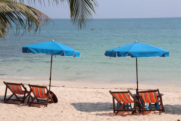 Empty beach chairs in Ko Samet, Thailand