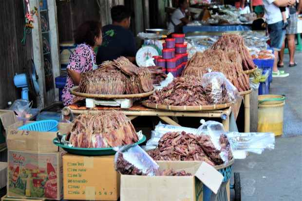 Dry seafood for sale in Ban Phe, Thai fishing village on poles