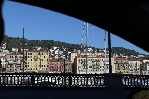 The Port of Nice seen from our car