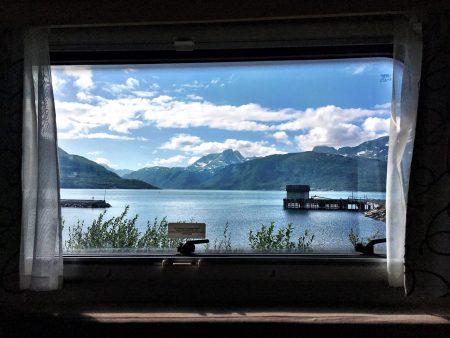 Norway by motorhome: Lyngenfjord from motorhome window