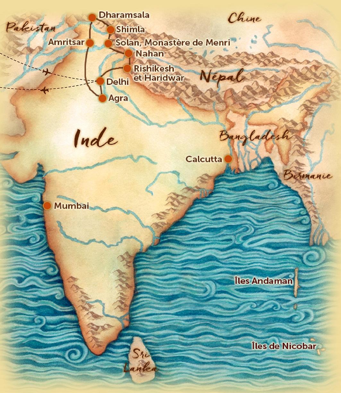 Carte du voyage en petit groupe en Inde Sacrée offert par l'agence de voyage Les Routes du Monde